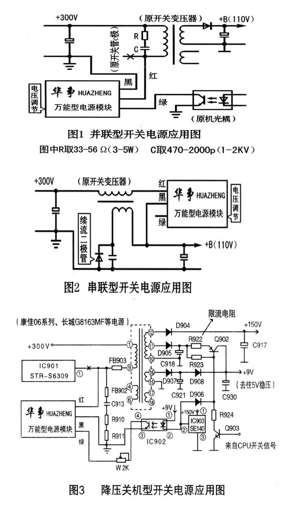 3.模块上的红线接原开关管C极焊点(场效应管为D极)或厚膜块内相应功率管的C极焊点,同时检查一下原开关管C极与+300V之间的反峰电压吸收回路是否完好,见图1中的R、C。有些彩电电源上采用其它形式的吸收回路,只要模块工作时不过热、不啸叫,电视屏幕上无干扰就行,没有吸收回路的要按照图1加装一套(串联型开关电源可不加);